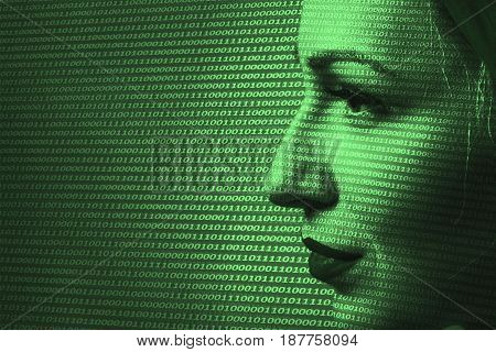 Close-up Of Woman Digital Surveillance. Security Technology Concept.