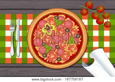 Delicious pizza on wood table with pepperoni, olive, cheese, tomato, mozzarella and basil. Vector Illustration.