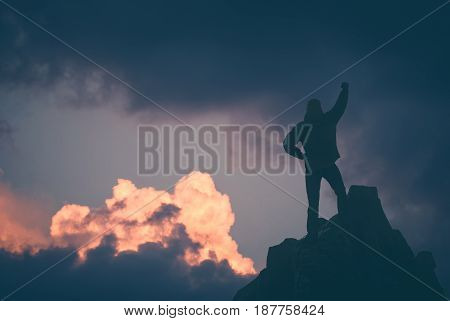 Hiker Against Sunset Sky. Instagram Stylisation
