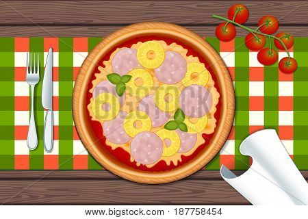 Hawaiian pizza. Delicious pizza on wood table with ham, cheeses, pineapple and basil. Vector Illustration.