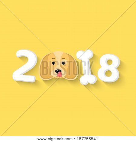 Happy New Year 2018. The year of the yellow earth dog. The dog licks himself. The numbers are chaotic. White bone. The falling shadow. Vector illustration in a flat style