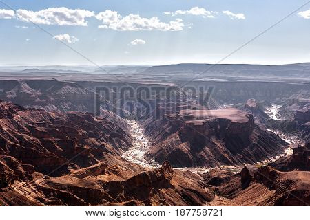 Fish River Canyon second largest Canyon in the world. Not much water no rain for seven months.
