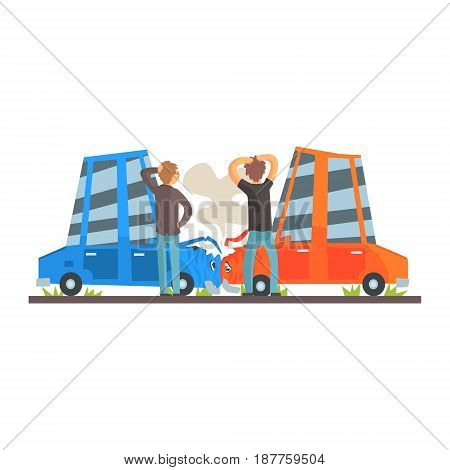 Two people crashing their cars. Car accident colorful character vector Illustration isolated on a white background