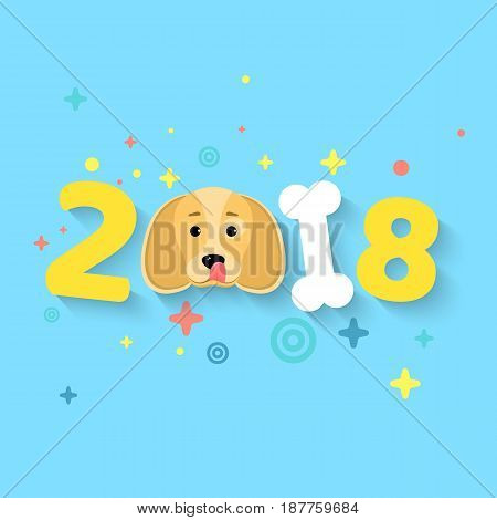 Happy New Year 2018. The year of the yellow earth dog. The numbers are chaotic. White bone. The falling shadow. Vector illustration in a flat style