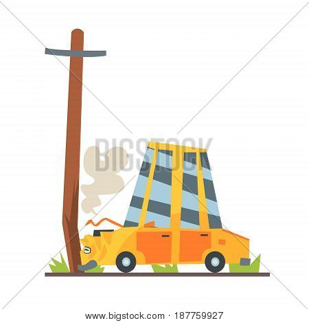 Car crashed into street post, car accident colorful character vector Illustration isolated on a white background