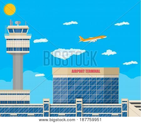 Aircraft above the ground. Airport control tower, terminal building and parking area. Sky with clouds and sun. Vector illustration in flat style