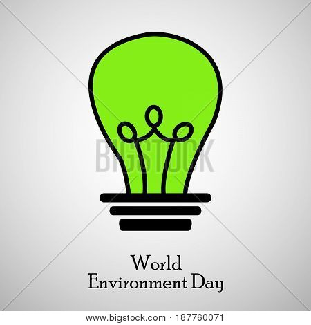 illustration of bulb in green background with world environment day text