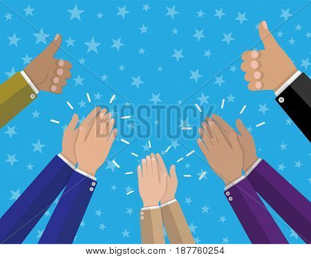 Human hands clapping. Applaud hands and hold thumbs up. Vector illustration in flat style