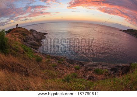 Beautiful sunset at Promthep cape view point Phuket Thailand