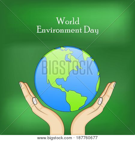 illustration of elements hands earth with world environment day text