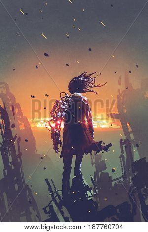 sci-fi concept of the man with robotic arm standing on ruined buildings looking at sunset sky with digital art style illustration painting