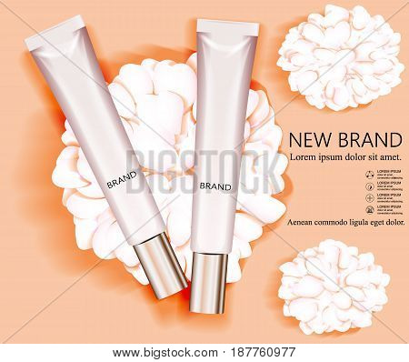 Template and cosmetic design. Two empty bottles on the background of flower petals. Vector illustration.