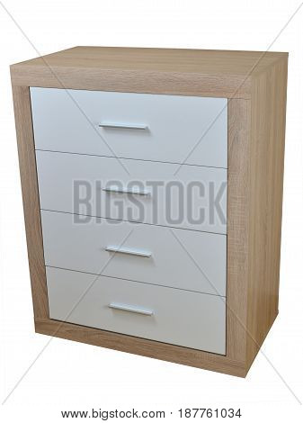 Chest of four drawers made of wooden materials isolated on white