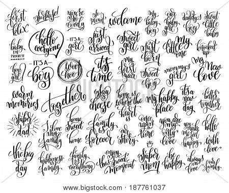 set of 50 hand written lettering about family and baby born holidays to photography overlay, party banner, greeting card and printable wall art, calligraphy vector illustration collection