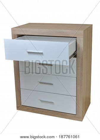 Chest of four drawers with the first one open made of wooden materials isolated on white
