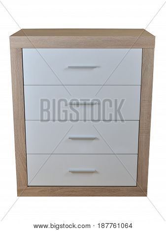 Cabinet of four drawers made of wooden materials isolated on white