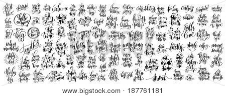 mega set of 100 hand written lettering inscription about family, baby born and birthday party to photography overlay, greeting card, printable wall art, calligraphy vector illustration big collection