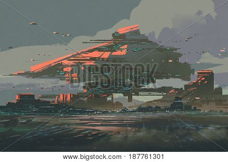 digital art of sci-fi concept with the futuristic colony on a planet with mega structures, illustration painting