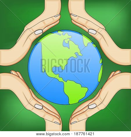 illustration of elements of earth and hands