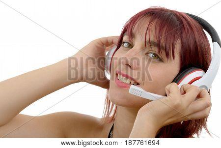 beautiful female support phone operator in headset closeup