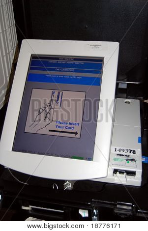 EL PASO - FEB 25: Diebold voting machine in El Paso, Texas, on February 25, 2008. Voting machines are increasingly popular in US elections, although concerns about accuracy and hacking persist.
