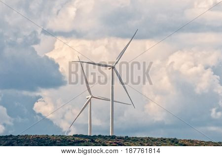 Wind turbines on a mountain near Noupoort a small town in the Northern Cape Province. Heat distortion is visible
