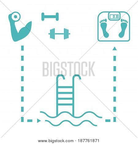 Nice Picture Of The Sport Lifestyle: Hand With Dumbbells, Barbells, Swimming Pool And Scales