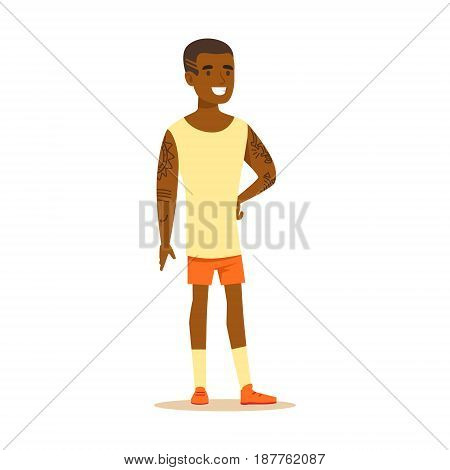 Happy young man in shorts and sleeveless shirt with tattoos on his hands standing. Colorful cartoon character vector Illustration isolated on a white background