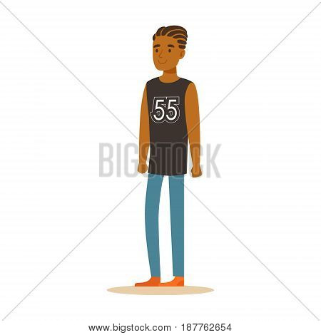 Smiling African American businessman with dreadlocks in a black sleeveless shirt standing. Colorful cartoon character vector Illustration isolated on a white background