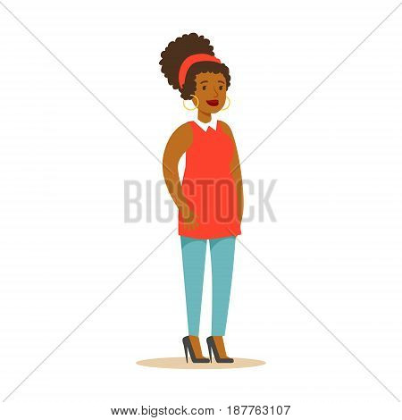 Casual African American girl in casual clothes wirh big earrings. Colorful cartoon character vector Illustration isolated on a white background