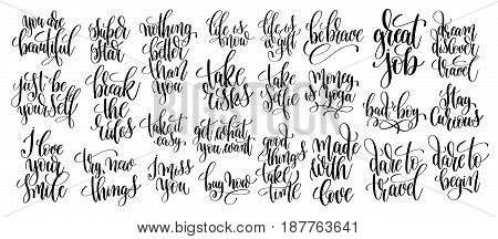 set of 25 hand lettering motivational quotes, handwritten positive phrases to print, inspirational typography slogans calligraphy vector illustration collection
