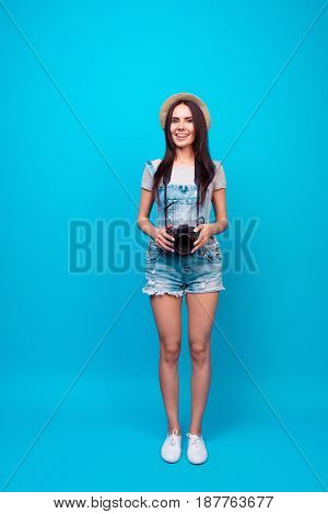 Full Length Of Cute Teen Photographer On Summer Vacation. She Is Holding Camera, Wearing Summer Casu