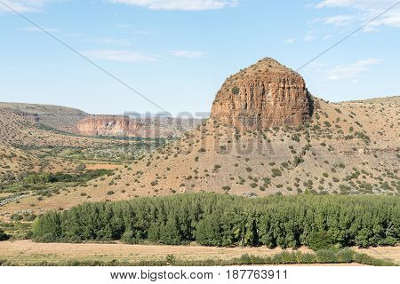 The view from the scenic Owl Route towards The Tower a typical Karoo hill near Nieu-Betesda an historic village in the Eastern Cape Province