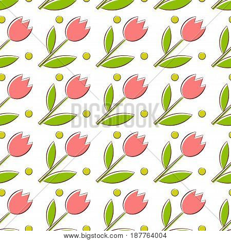 Seamless texture with tulips. Abstract bright background.