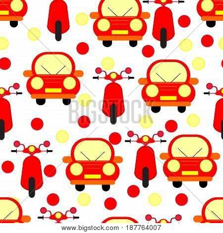 Funny Red Cars and Motobikes Seamless Patterns Isolated on White Bacground. Vector Illustration
