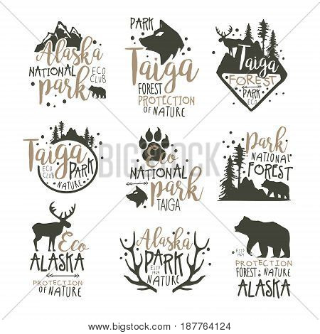 Alaska national park labels set. Forest protection hand drawn vector Illustrations isolated on white background