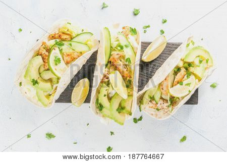 Healthy Food Snack. Tortillas Taco With Grilled Chicken, Avocado, Fresh Salsa, Lettuce, Lime. With Y