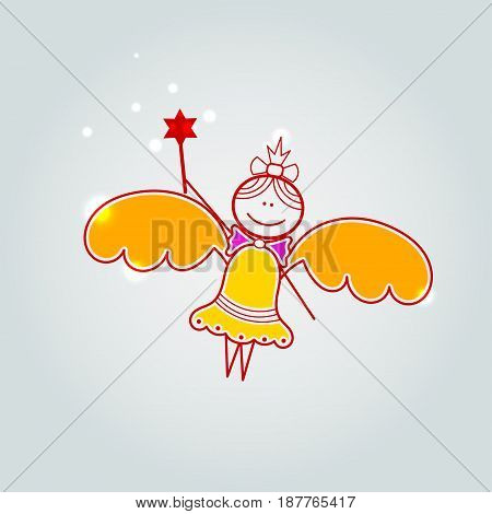 Gift card with little fairy, a light background.