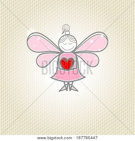 Little fairy with heart in hands, a light background.