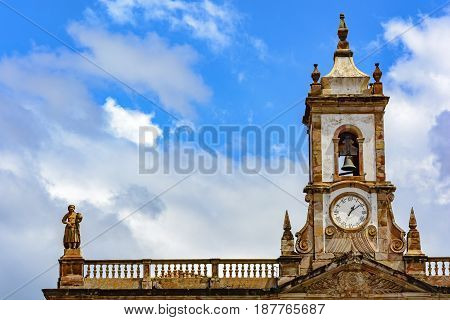 Ancient tower with bell and clock in the historic city of Ouro Preto Minas Gerais
