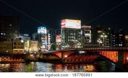 Tokyo Japan - May 3 2017: The red bridge across Sumida river to Asakusa area.