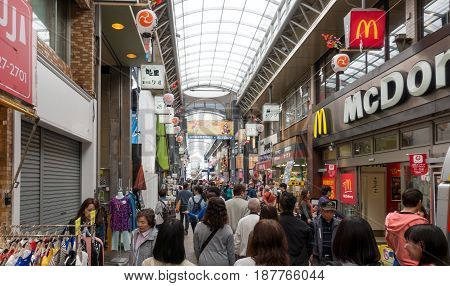Tokyo Japan - May 4 2017: Tourists are shopping in Indoor Shopping Street in Sensoji shrine area.