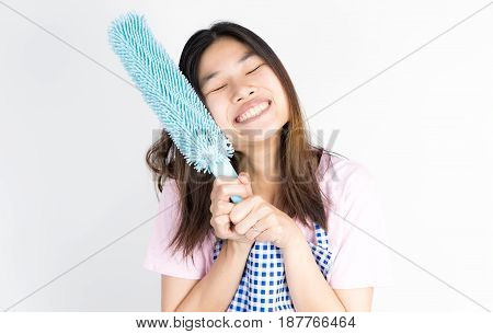 Happy House wife maid ready to clean up isolated on white