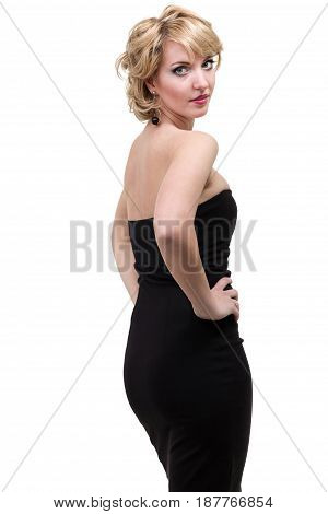 Beautiful Woman in Black Dress isolated on white background