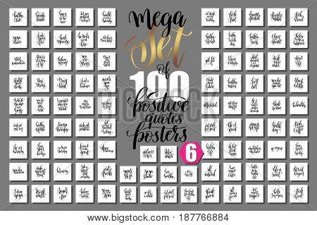 mega set of 100 hand lettering quotes about fitness and healthy life, inspirational and motivational square banners with text, calligraphy vector illustration big collection