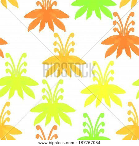 Tribal seamless pattern with trees.Seamless Floral Pattern. Watercolor graphic for backgrounds papers and fabrics. Vector illustration