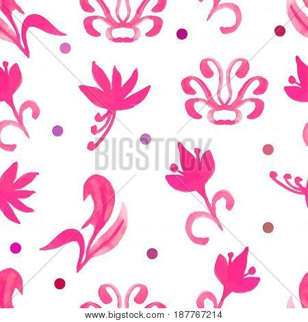 Retro red seamless pattern with trees.Seamless Floral Pattern. Watercolor graphic for backgrounds papers and fabrics. Vector illustration