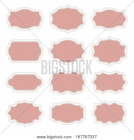 Set of vintage stickers border in frame for messages and greetings. Vector illustration