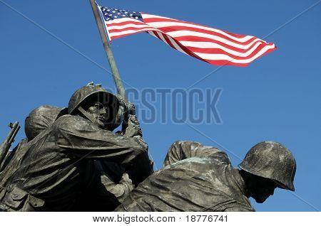 Closeup of Iwo Jima, the United States Marine Corps Memorial, in Arlington, Virginia