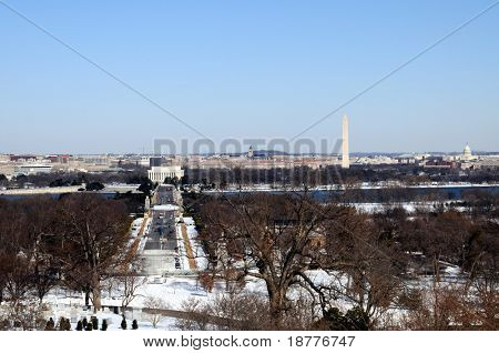 Skyline of Washington DC in winter, as seen from Arlington, Virginia, across the Potomac River. Arlington Memorial Bridge in front of the Lincoln Memorial.